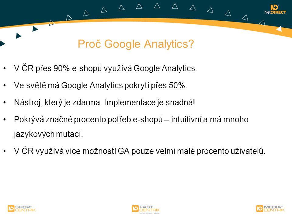 Proč Google Analytics? V ČR přes 90% e-shopů využívá Google Analytics. Ve světě má Google Analytics pokrytí přes 50%. Nástroj, který je zdarma. Implem