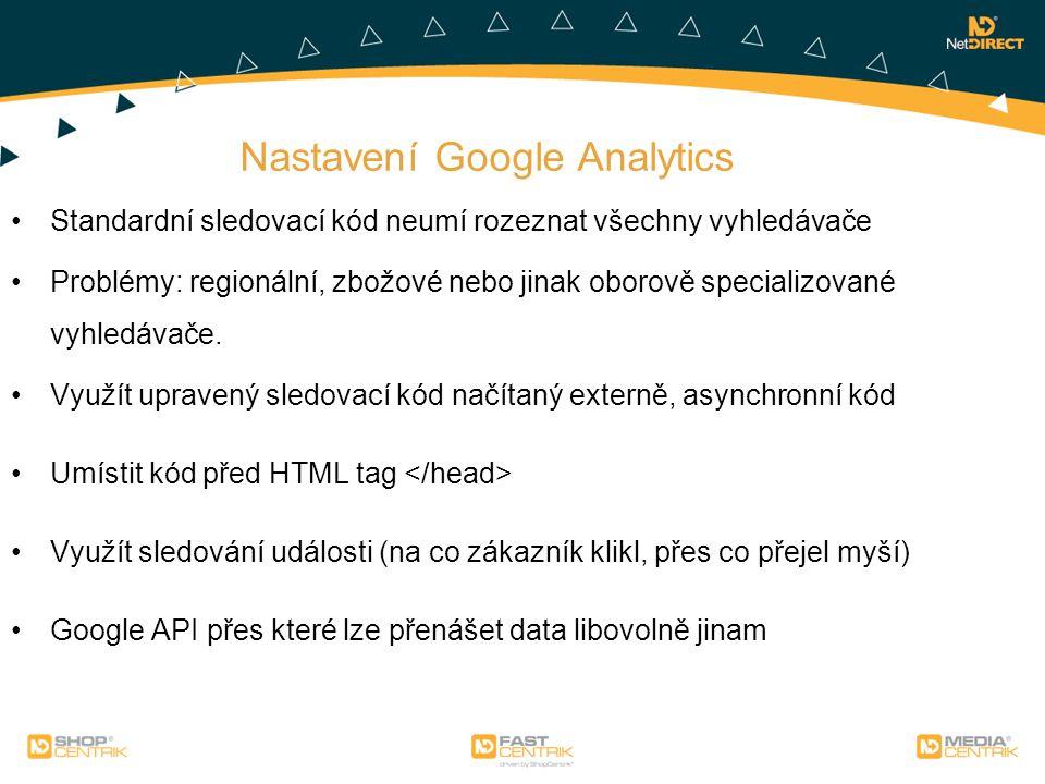 Nastavení Google Analytics Standardní sledovací kód neumí rozeznat všechny vyhledávače Problémy: regionální, zbožové nebo jinak oborově specializované