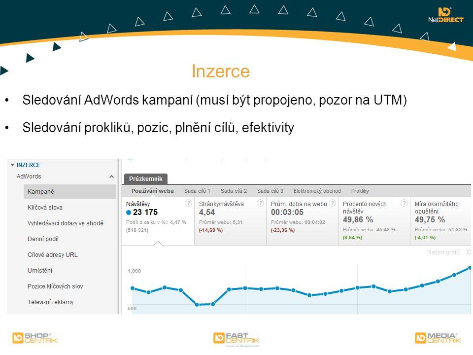 Inzerce Sledování AdWords kampaní (musí být propojeno, pozor na UTM) Sledování prokliků, pozic, plnění cílů, efektivity