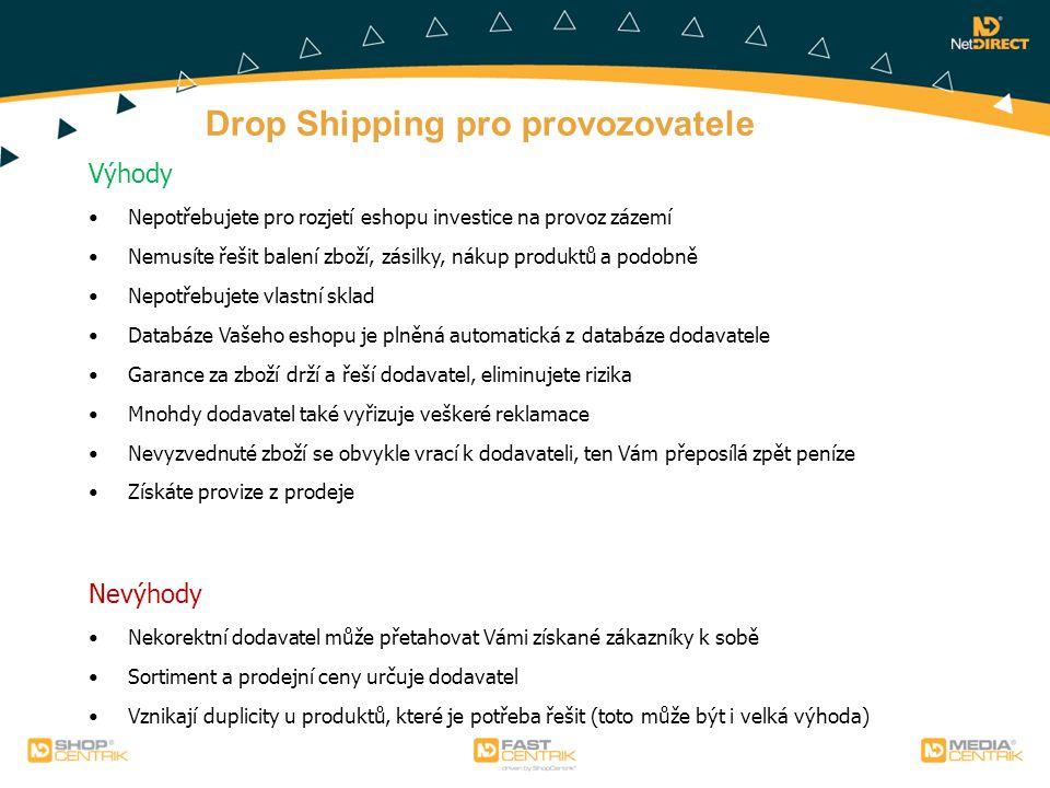 Drop Shipping pro provozovatele Výhody Nepotřebujete pro rozjetí eshopu investice na provoz zázemí Nemusíte řešit balení zboží, zásilky, nákup produkt