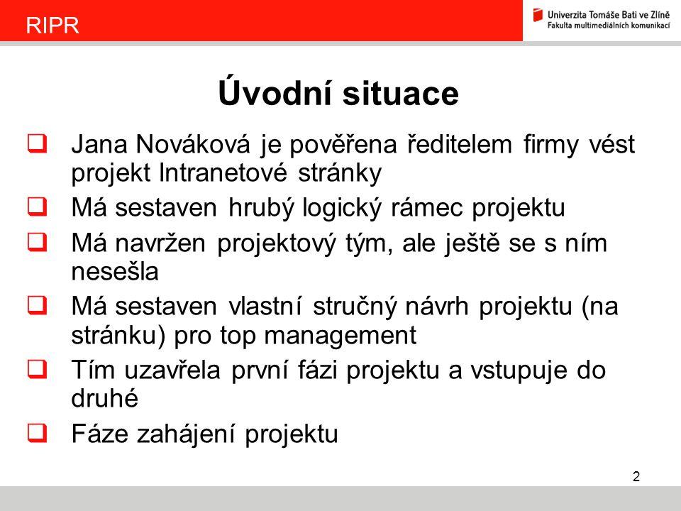 2  Jana Nováková je pověřena ředitelem firmy vést projekt Intranetové stránky  Má sestaven hrubý logický rámec projektu  Má navržen projektový tým,