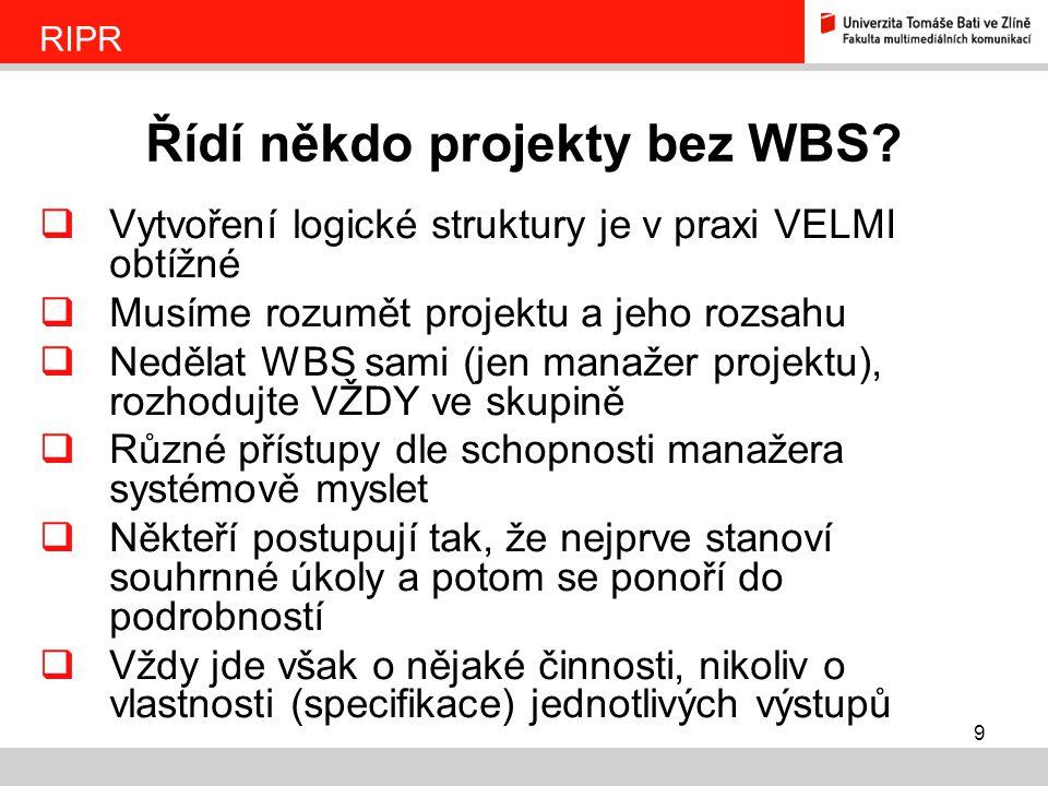 9  Vytvoření logické struktury je v praxi VELMI obtížné  Musíme rozumět projektu a jeho rozsahu  Nedělat WBS sami (jen manažer projektu), rozhodujt