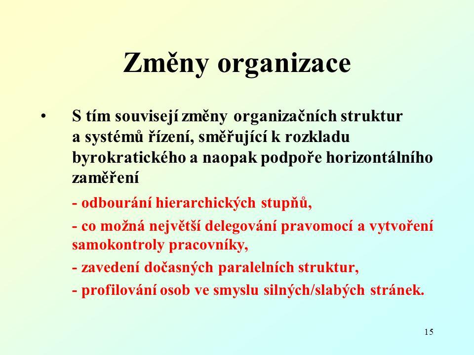 15 Změny organizace S tím souvisejí změny organizačních struktur a systémů řízení, směřující k rozkladu byrokratického a naopak podpoře horizontálního