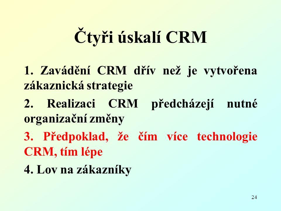 24 Čtyři úskalí CRM 1. Zavádění CRM dřív než je vytvořena zákaznická strategie 2. Realizaci CRM předcházejí nutné organizační změny 3. Předpoklad, že