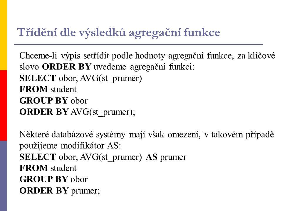 Chceme-li výpis setřídit podle hodnoty agregační funkce, za klíčové slovo ORDER BY uvedeme agregační funkci: SELECT obor, AVG(st_prumer) FROM student