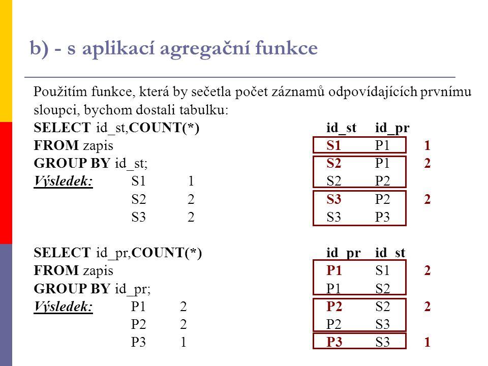 b) - s aplikací agregační funkce Použitím funkce, která by sečetla počet záznamů odpovídajících prvnímu sloupci, bychom dostali tabulku: SELECT id_st,