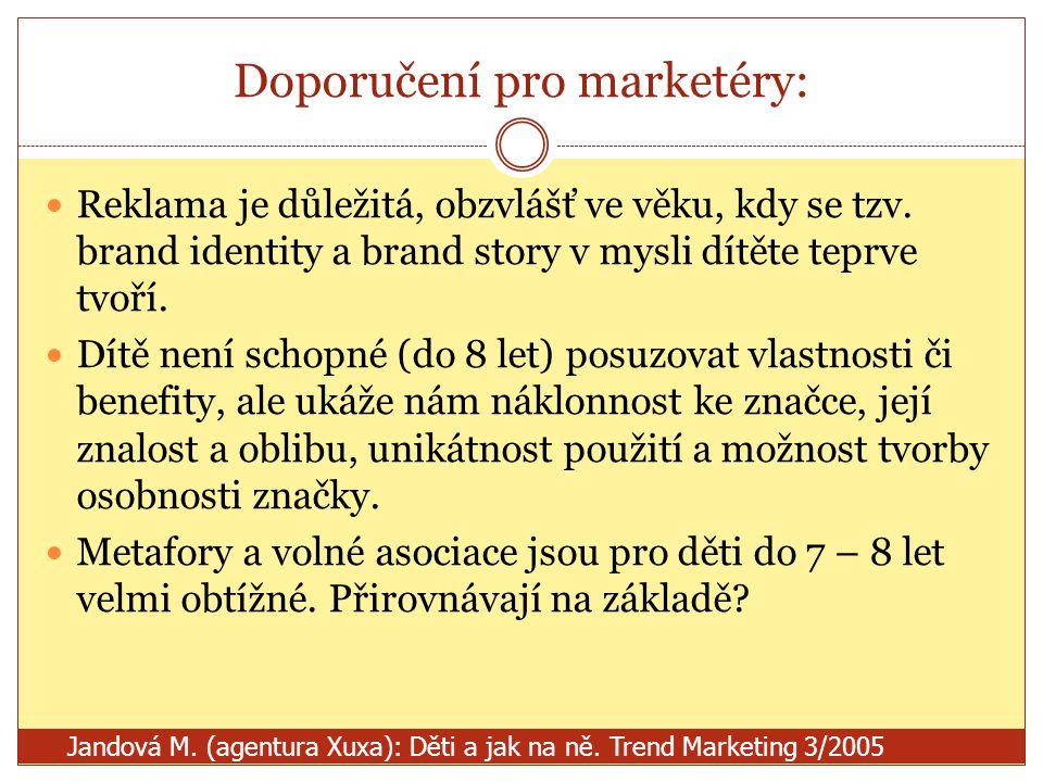Doporučení pro marketéry: Reklama je důležitá, obzvlášť ve věku, kdy se tzv. brand identity a brand story v mysli dítěte teprve tvoří. Dítě není schop