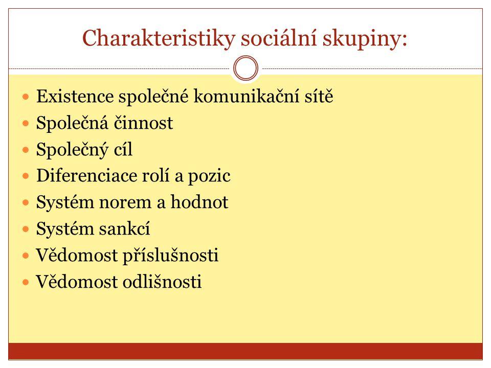 Charakteristiky sociální skupiny: Existence společné komunikační sítě Společná činnost Společný cíl Diferenciace rolí a pozic Systém norem a hodnot Sy