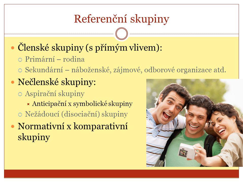 Dva základní směry vlivu RS: Referenční skupina jako zdroj informací a pomoc při hodnocení variant Referenční skupina jako cíl (sociální) JEDINECRSNÁKUP