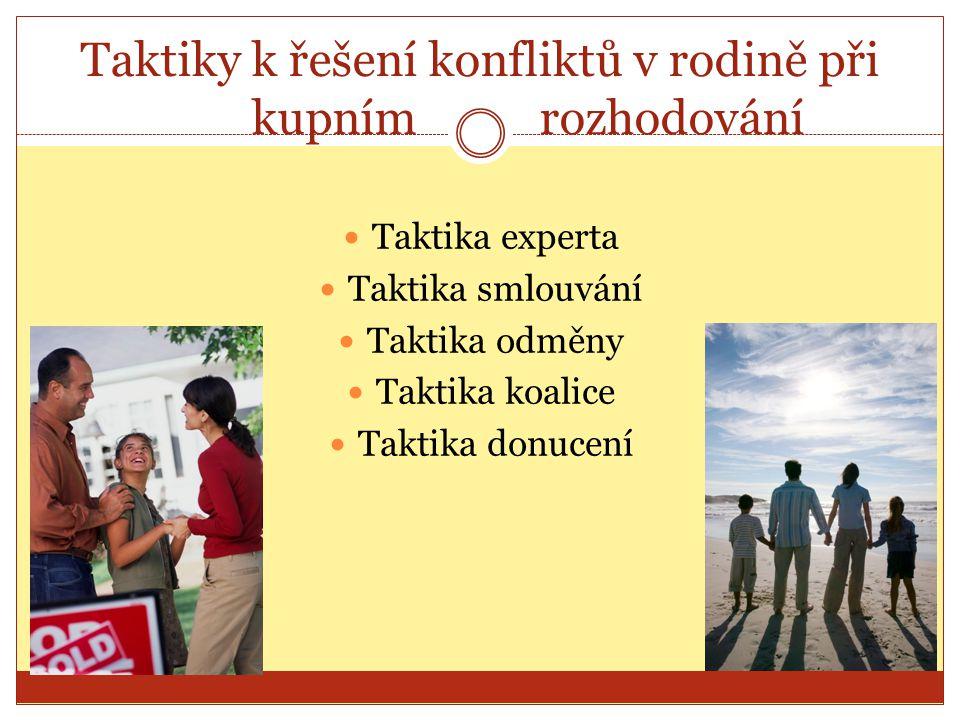 Taktiky k řešení konfliktů v rodině při kupním rozhodování Taktika experta Taktika smlouvání Taktika odměny Taktika koalice Taktika donucení