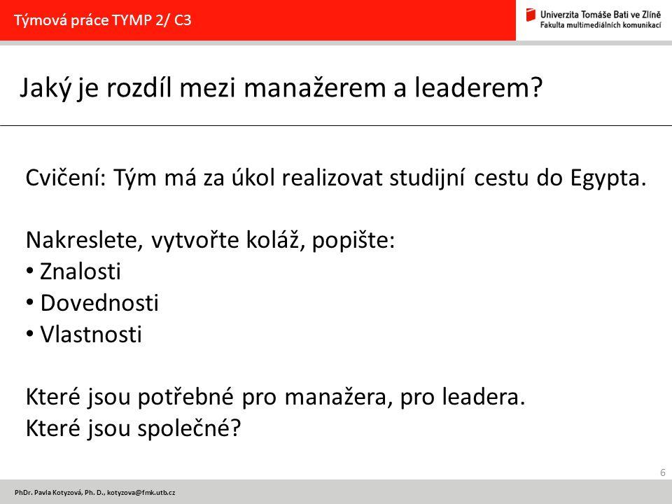 6 PhDr.Pavla Kotyzová, Ph. D., kotyzova@fmk.utb.cz Jaký je rozdíl mezi manažerem a leaderem.