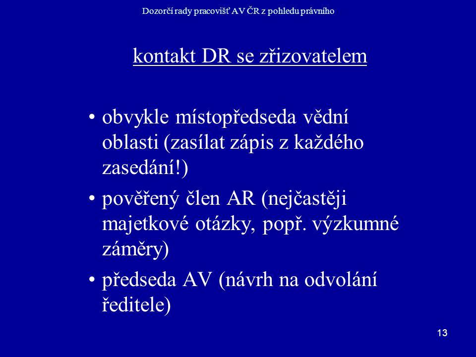 13 Dozorčí rady pracovišť AV ČR z pohledu právního kontakt DR se zřizovatelem obvykle místopředseda vědní oblasti (zasílat zápis z každého zasedání!) pověřený člen AR (nejčastěji majetkové otázky, popř.