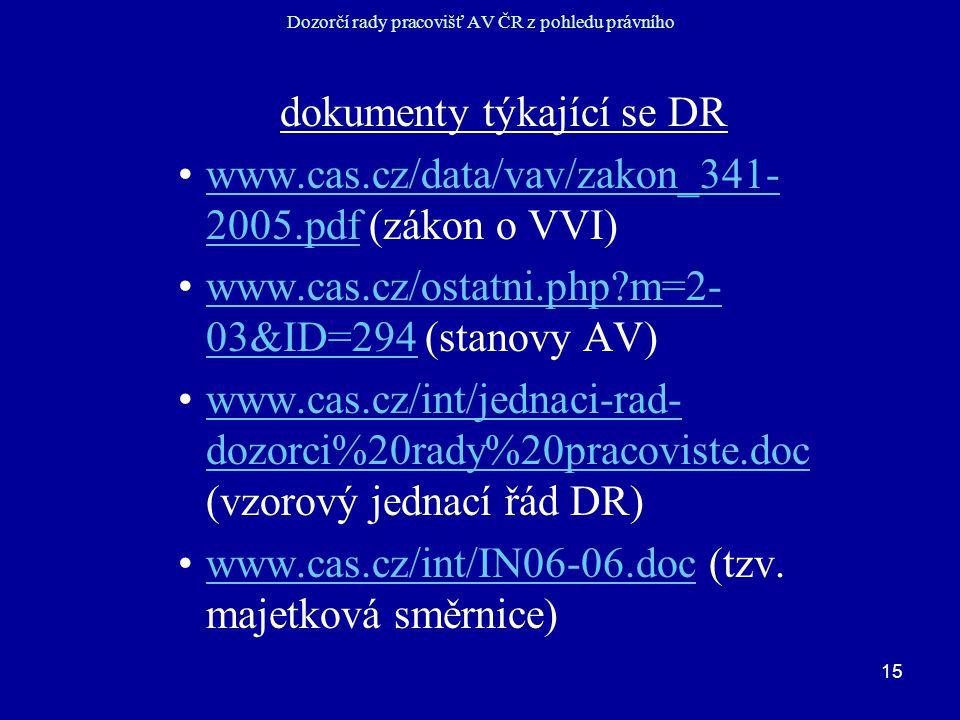 15 Dozorčí rady pracovišť AV ČR z pohledu právního dokumenty týkající se DR www.cas.cz/data/vav/zakon_341- 2005.pdf (zákon o VVI)www.cas.cz/data/vav/zakon_341- 2005.pdf www.cas.cz/ostatni.php?m=2- 03&ID=294 (stanovy AV)www.cas.cz/ostatni.php?m=2- 03&ID=294 www.cas.cz/int/jednaci-rad- dozorci%20rady%20pracoviste.doc (vzorový jednací řád DR)www.cas.cz/int/jednaci-rad- dozorci%20rady%20pracoviste.doc www.cas.cz/int/IN06-06.doc (tzv.