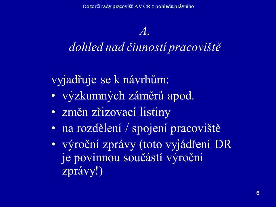 6 Dozorčí rady pracovišť AV ČR z pohledu právního A.