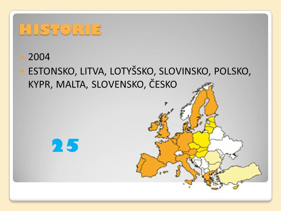 HISTORIE 2004 ESTONSKO, LITVA, LOTYŠSKO, SLOVINSKO, POLSKO, KYPR, MALTA, SLOVENSKO, ČESKO 25