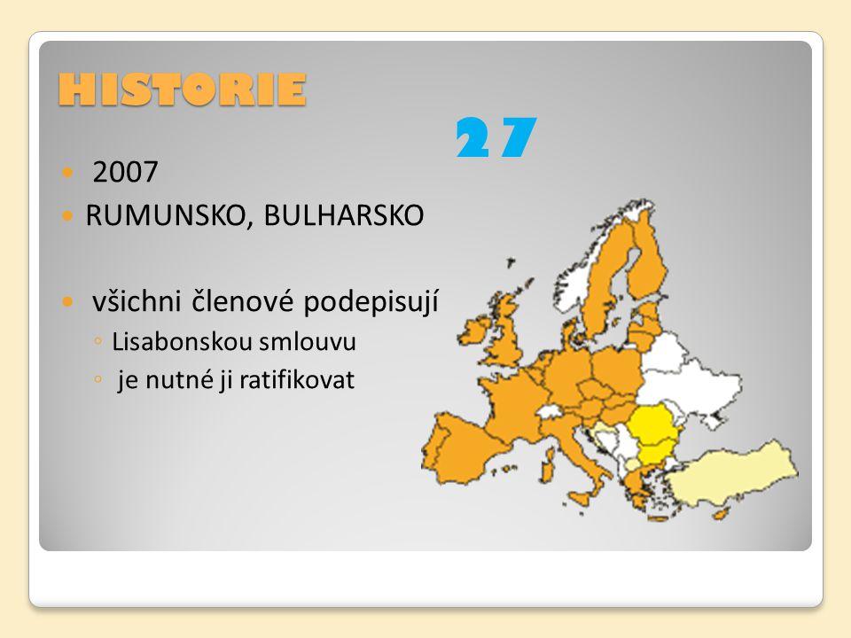 HISTORIE 2007 RUMUNSKO, BULHARSKO všichni členové podepisují ◦ Lisabonskou smlouvu ◦ je nutné ji ratifikovat 27