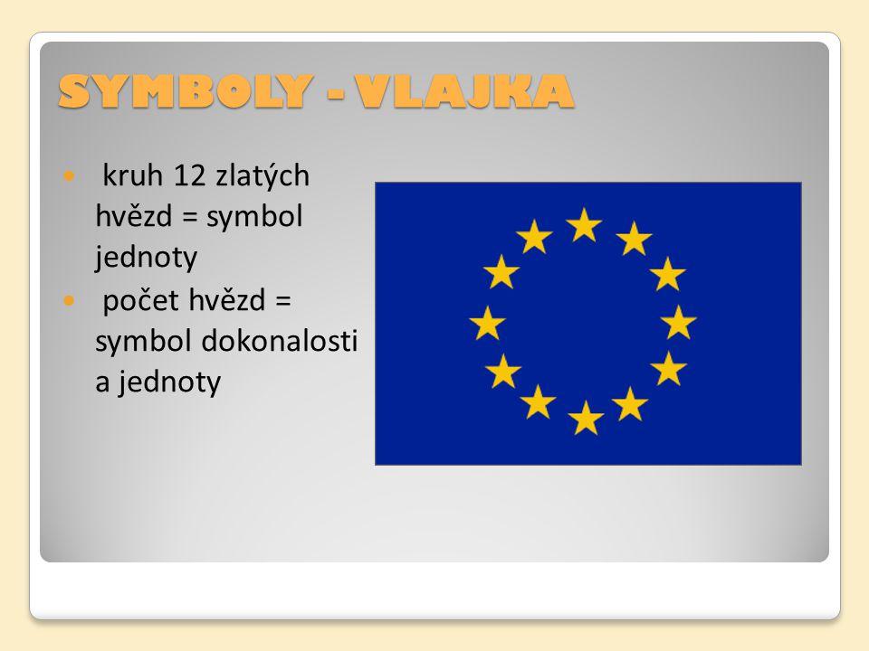 SYMBOLY - VLAJKA kruh 12 zlatých hvězd = symbol jednoty počet hvězd = symbol dokonalosti a jednoty