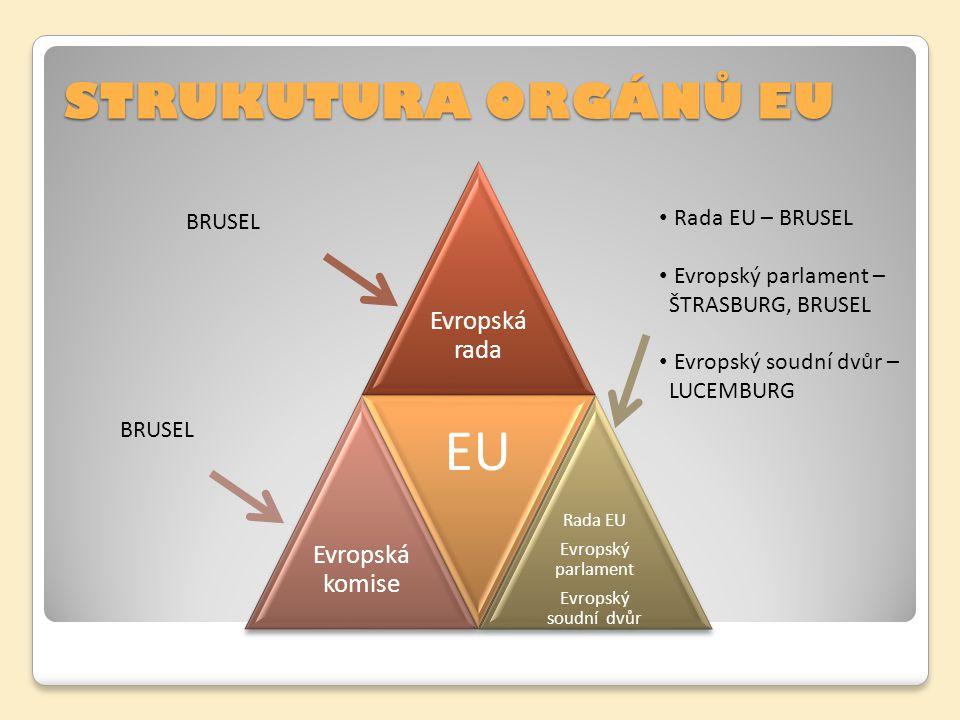 STRUKUTURA ORGÁNŮ EU Evropská rada Evropská komise EU Rada EU Evropský parlament Evropský soudní dvůr BRUSEL Rada EU – BRUSEL Evropský parlament – ŠTR