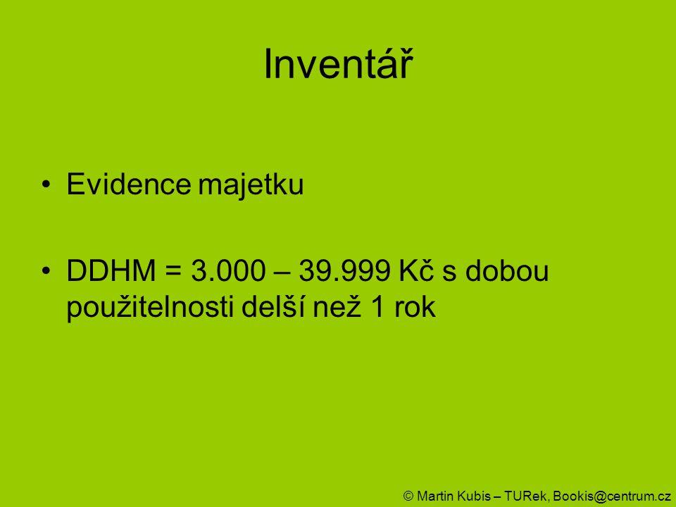 Inventář Evidence majetku DDHM = 3.000 – 39.999 Kč s dobou použitelnosti delší než 1 rok © Martin Kubis – TURek, Bookis@centrum.cz