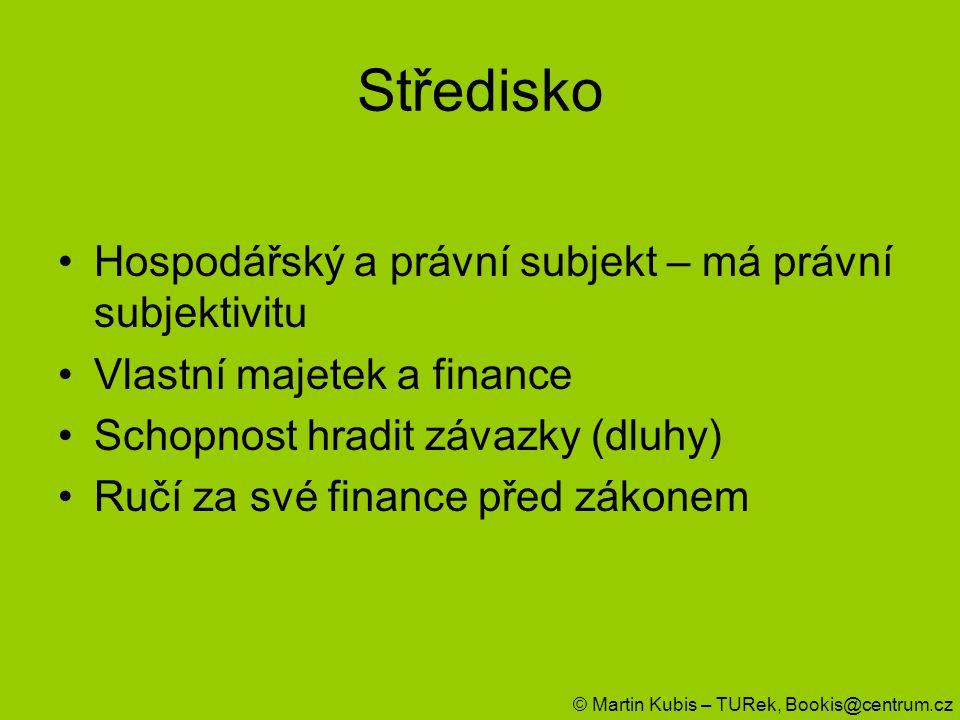 Středisko Hospodářský a právní subjekt – má právní subjektivitu Vlastní majetek a finance Schopnost hradit závazky (dluhy) Ručí za své finance před zá