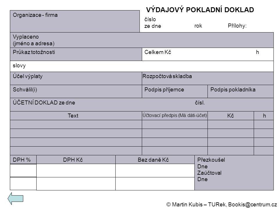 Organizace - firma Vyplaceno (jméno a adresa) Průkaz totožnostiCelkem Kčh slovy Účel výplatyRozpočtová skladba Schválil(i)Podpis příjemcePodpis poklad