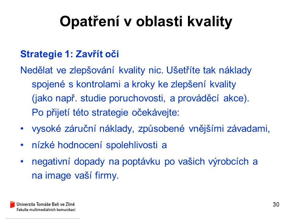 30 Opatření v oblasti kvality Strategie 1: Zavřít oči Nedělat ve zlepšování kvality nic. Ušetříte tak náklady spojené s kontrolami a kroky ke zlepšení