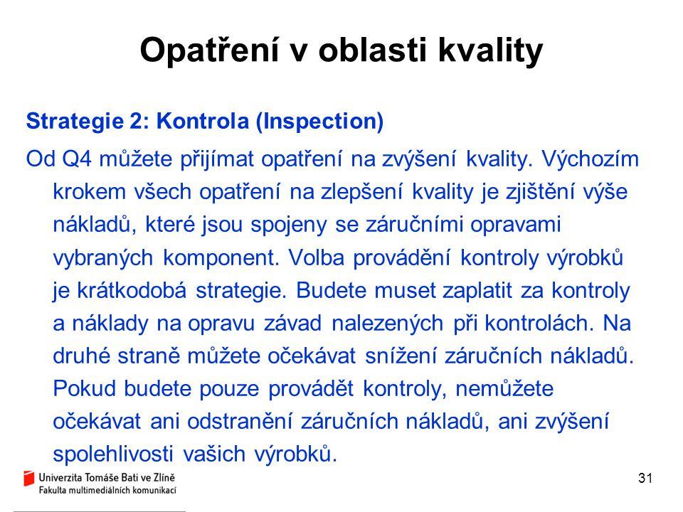 31 Opatření v oblasti kvality Strategie 2: Kontrola (Inspection) Od Q4 můžete přijímat opatření na zvýšení kvality. Výchozím krokem všech opatření na