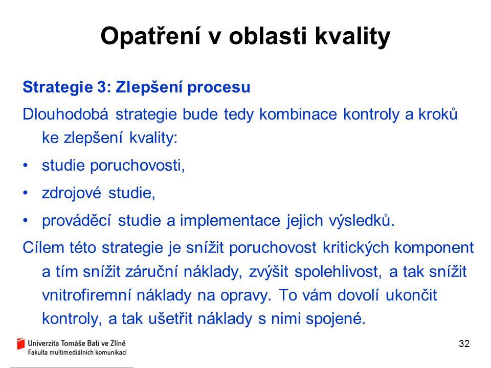 32 Opatření v oblasti kvality Strategie 3: Zlepšení procesu Dlouhodobá strategie bude tedy kombinace kontroly a kroků ke zlepšení kvality: studie poru