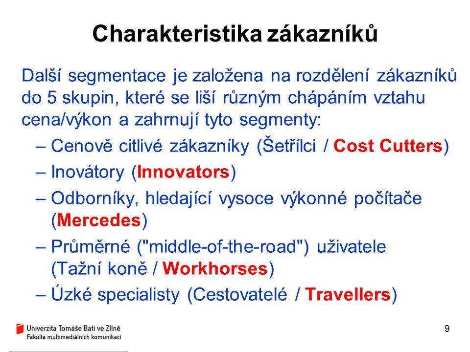 9 Charakteristika zákazníků Další segmentace je založena na rozdělení zákazníků do 5 skupin, které se liší různým chápáním vztahu cena/výkon a zahrnuj