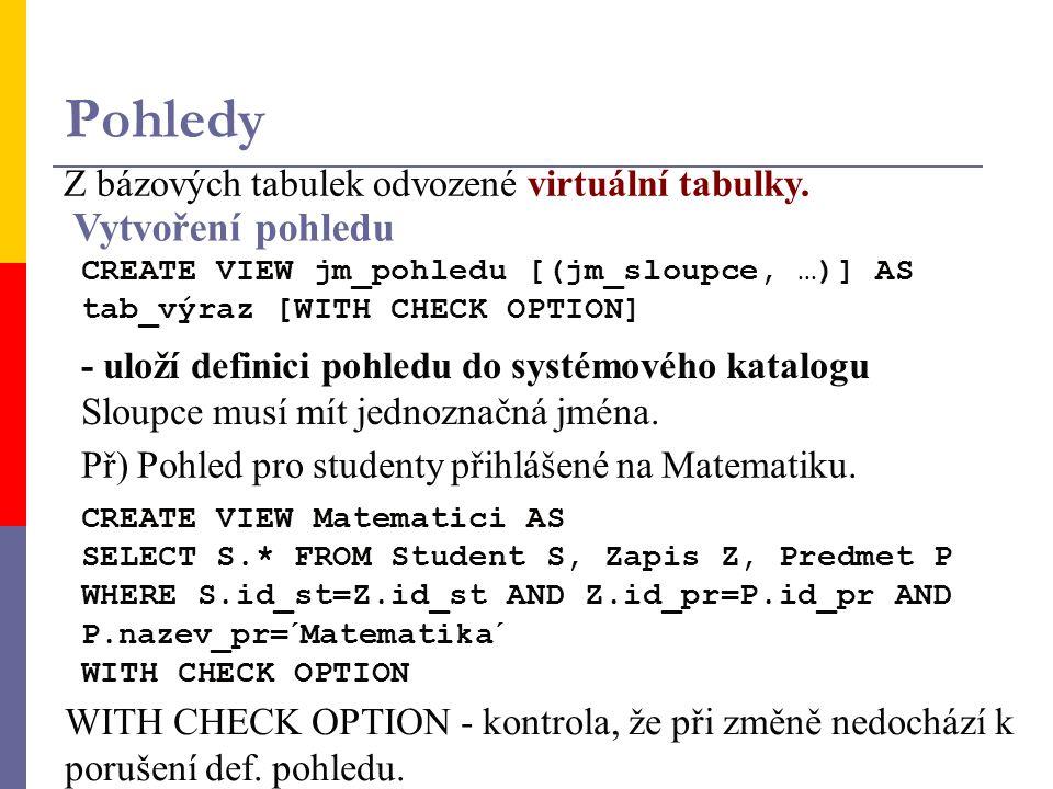 Pohledy Z bázových tabulek odvozené virtuální tabulky.