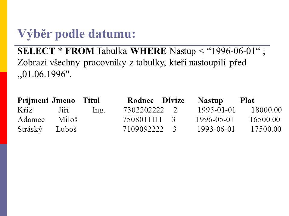 """SELECT * FROM Tabulka WHERE Nastup < """"1996-06-01"""" ; Zobrazí všechny pracovníky z tabulky, kteří nastoupili před,,01.06.1996"""