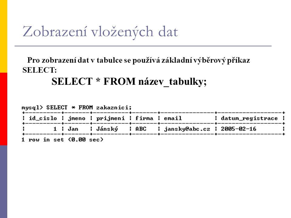 Zobrazení vložených dat Pro zobrazení dat v tabulce se používá základní výběrový příkaz SELECT: SELECT * FROM název_tabulky;