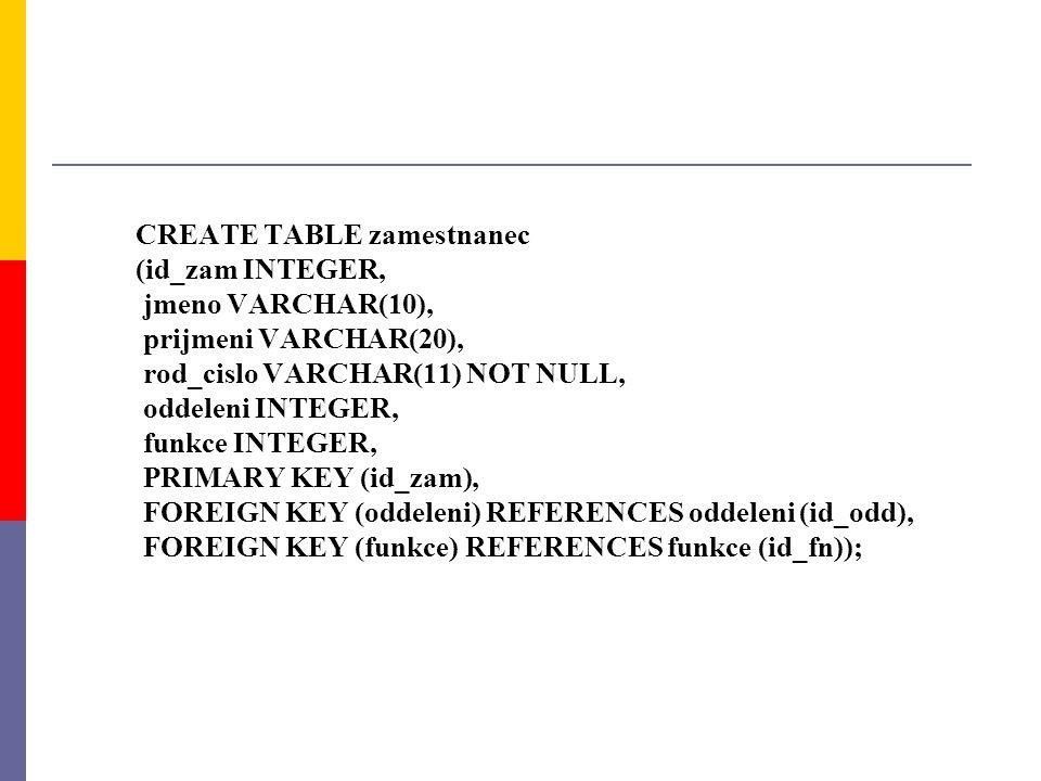 CREATE TABLE zamestnanec (id_zam INTEGER, jmeno VARCHAR(10), prijmeni VARCHAR(20), rod_cislo VARCHAR(11) NOT NULL, oddeleni INTEGER, funkce INTEGER, P