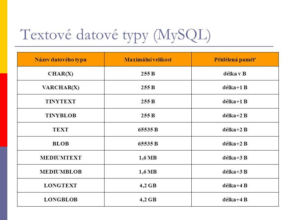 Textové datové typy (MySQL) Název datového typuMaximální velikostPřidělená paměť CHAR(X)255 Bdélka v B VARCHAR(X)255 Bdélka+1 B TINYTEXT255 Bdélka+1 B
