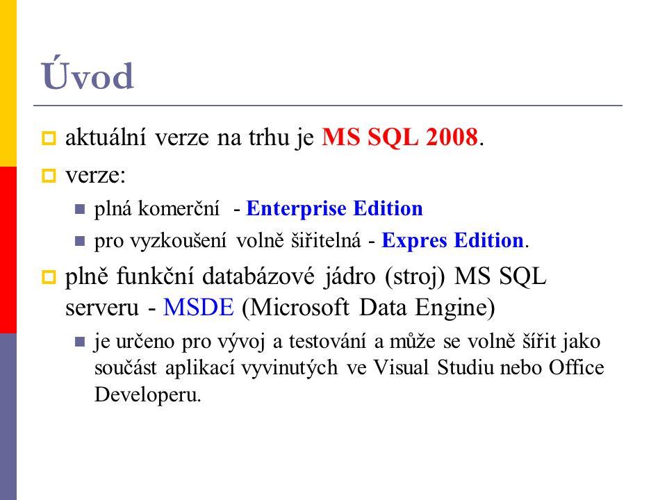 Úvod  aktuální verze na trhu je MS SQL 2008.