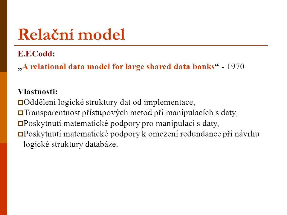 """E.F.Codd: """"A relational data model for large shared data banks"""" - 1970 Vlastnosti:  Oddělení logické struktury dat od implementace,  Transparentnost"""