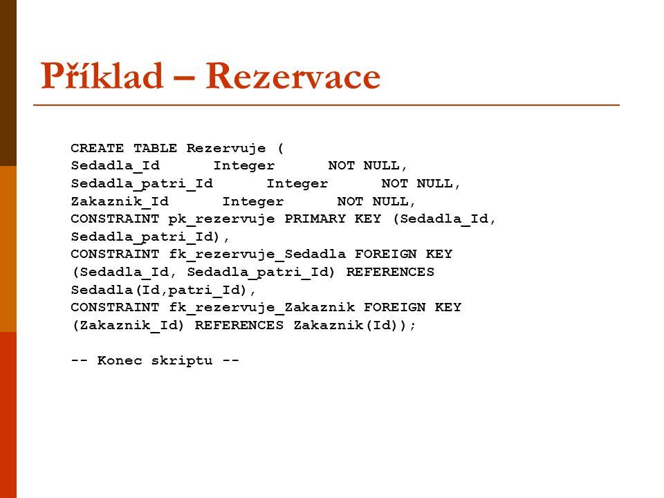 Příklad – Rezervace CREATE TABLE Rezervuje ( Sedadla_Id Integer NOT NULL, Sedadla_patri_Id Integer NOT NULL, Zakaznik_Id Integer NOT NULL, CONSTRAINT