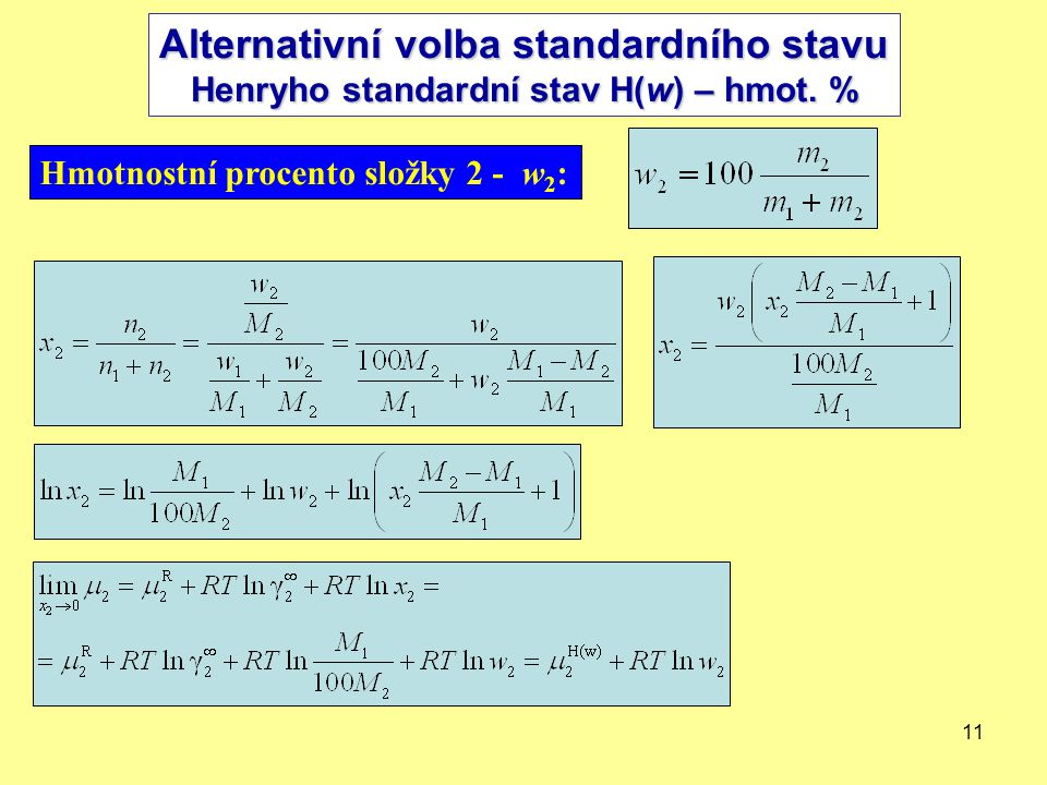 11 Henryho standardní stav H(w) - hm.% Hmotnostní procento složky 2 - w 2 : Alternativní volba standardního stavu Henryho standardní stav H(w) – hmot.