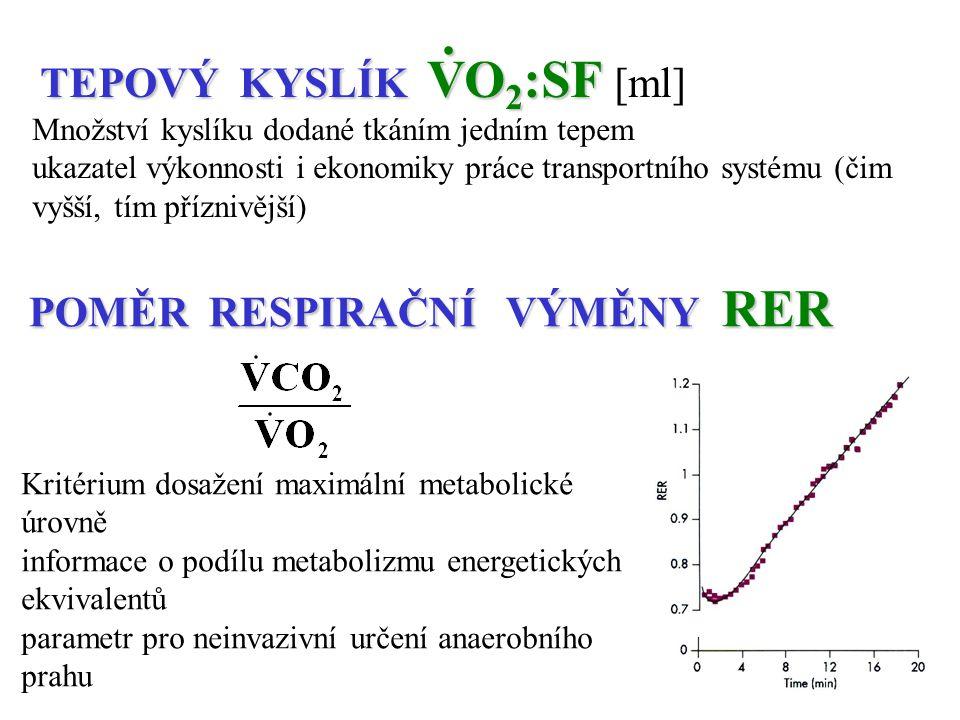 POMĚR RESPIRAČNÍ VÝMĚNY RER Kritérium dosažení maximální metabolické úrovně informace o podílu metabolizmu energetických ekvivalentů parametr pro nein