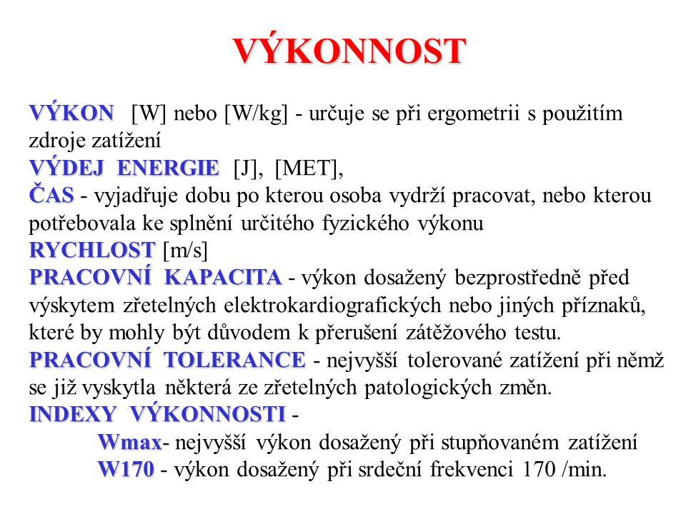 VÝKONNOST VÝKON VÝKON [W] nebo [W/kg] - určuje se při ergometrii s použitím zdroje zatížení VÝDEJ ENERGIE VÝDEJ ENERGIE [J], [MET], ČAS ČAS - vyjadřuj