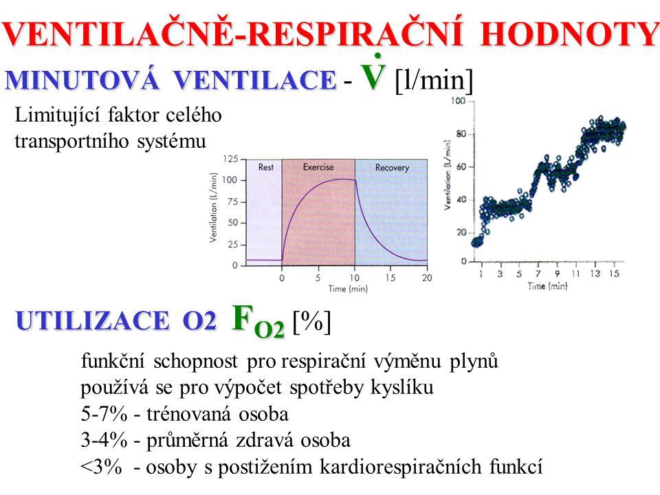 VENTILAČNĚ-RESPIRAČNÍ HODNOTY MINUTOVÁ VENTILACE V MINUTOVÁ VENTILACE - V [l/min]. Limitující faktor celého transportního systému UTILIZACE O2 F O2 UT