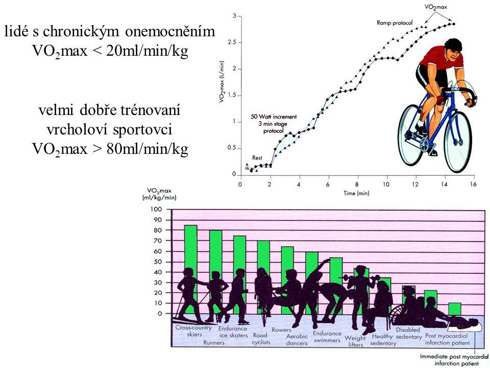 lidé s chronickým onemocněním VO 2 max < 20ml/min/kg velmi dobře trénovaní vrcholoví sportovci VO 2 max > 80ml/min/kg
