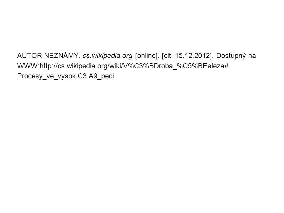 AUTOR NEZNÁMÝ. cs.wikipedia.org [online]. [cit. 15.12.2012]. Dostupný na WWW:http://cs.wikipedia.org/wiki/V%C3%BDroba_%C5%BEeleza# Procesy_ve_vysok.C3