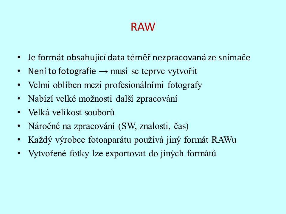RAW Je formát obsahující data téměř nezpracovaná ze snímače Není to fotografie → musí se teprve vytvořit Velmi oblíben mezi profesionálními fotografy