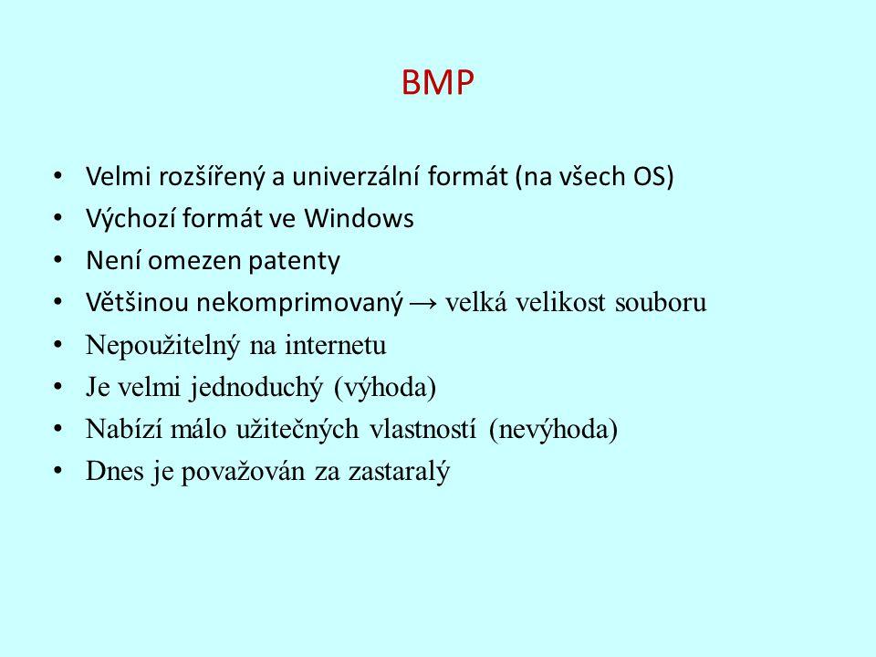 BMP Velmi rozšířený a univerzální formát (na všech OS) Výchozí formát ve Windows Není omezen patenty Většinou nekomprimovaný → velká velikost souboru