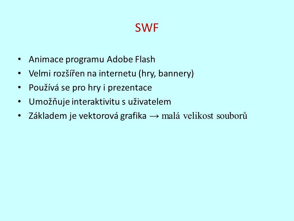 SWF Animace programu Adobe Flash Velmi rozšířen na internetu (hry, bannery) Používá se pro hry i prezentace Umožňuje interaktivitu s uživatelem Základ