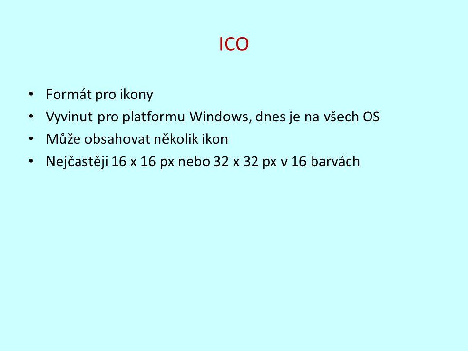 ICO Formát pro ikony Vyvinut pro platformu Windows, dnes je na všech OS Může obsahovat několik ikon Nejčastěji 16 x 16 px nebo 32 x 32 px v 16 barvách