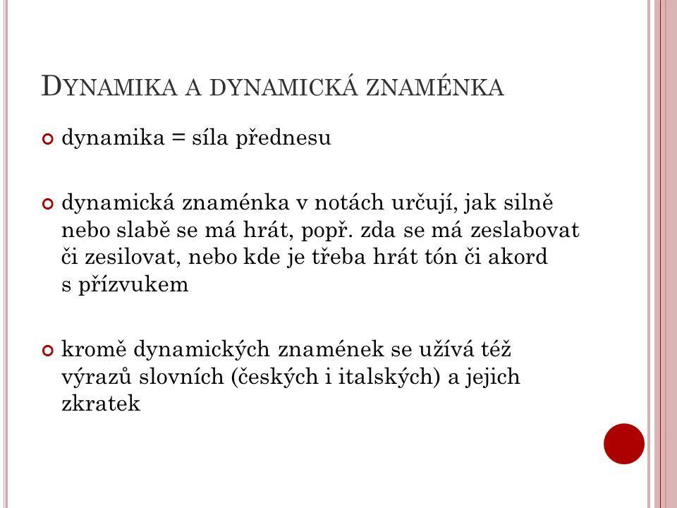 D YNAMIKA A DYNAMICKÁ ZNAMÉNKA dynamika = síla přednesu dynamická znaménka v notách určují, jak silně nebo slabě se má hrát, popř.
