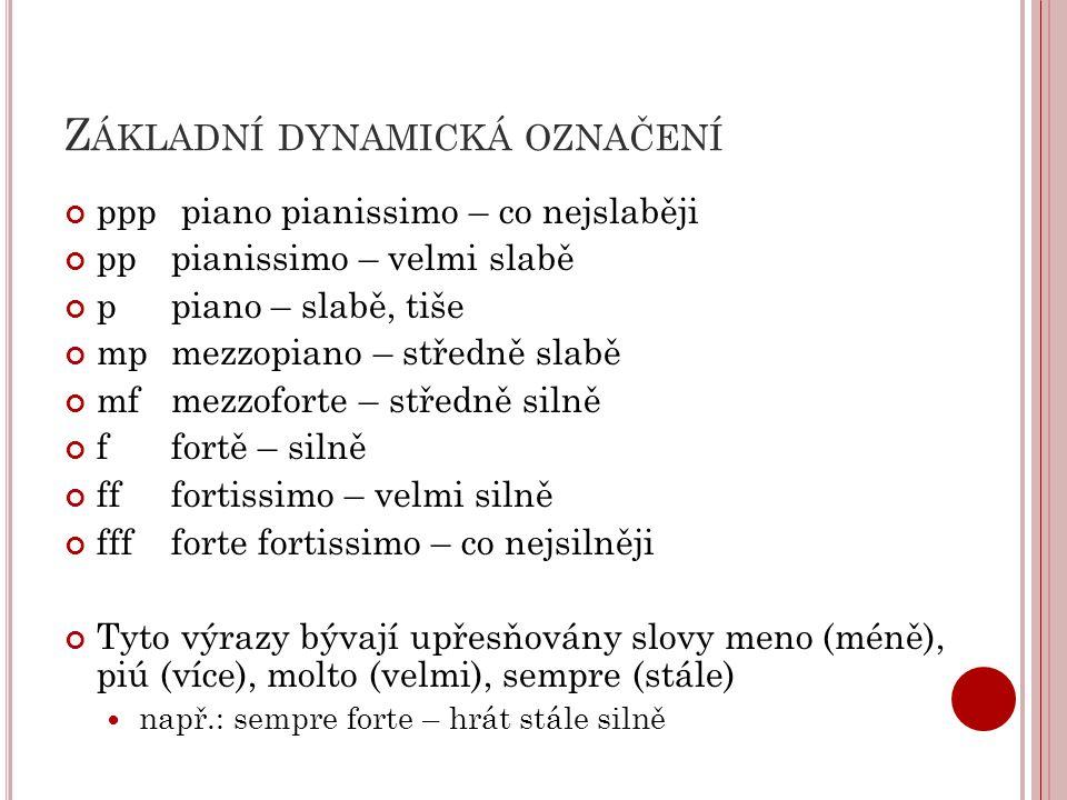 Z ÁKLADNÍ DYNAMICKÁ OZNAČENÍ ppp piano pianissimo – co nejslaběji pp pianissimo – velmi slabě p piano – slabě, tiše mpmezzopiano – středně slabě mfmezzoforte – středně silně ffortě – silně fffortissimo – velmi silně fffforte fortissimo – co nejsilněji Tyto výrazy bývají upřesňovány slovy meno (méně), piú (více), molto (velmi), sempre (stále) např.: sempre forte – hrát stále silně