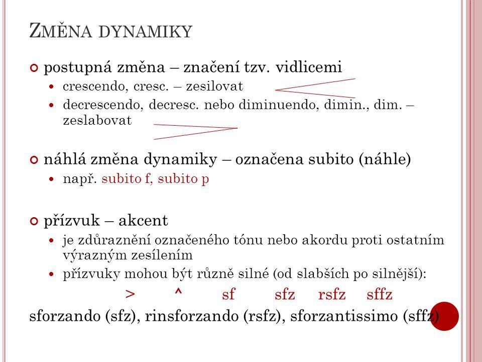 Z MĚNA DYNAMIKY postupná změna – značení tzv.vidlicemi crescendo, cresc.